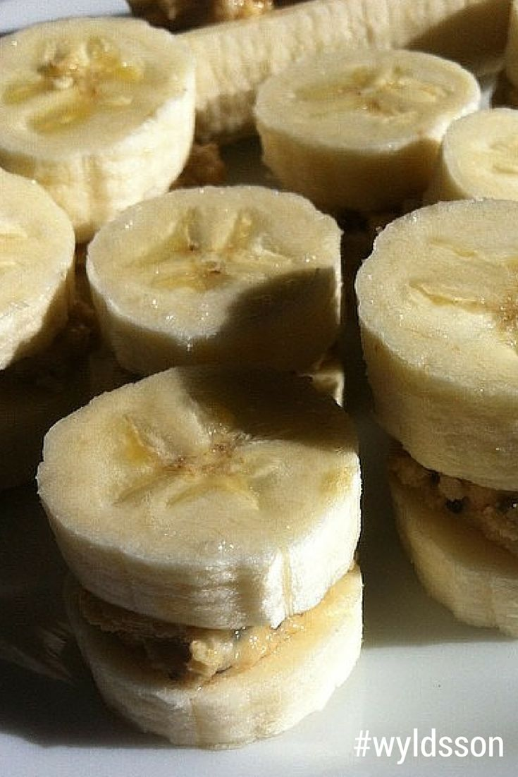 Sliced banana with #wyldsson Crunchy Nut & Seed butter in between, then frozen. A great healthy snack, with one of your 5-a-day!