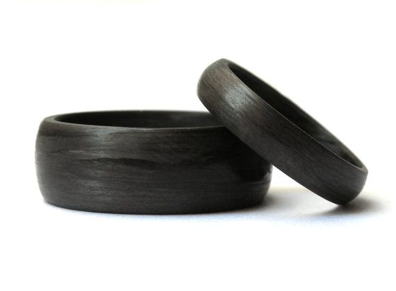 Carbon Fiber Unidirectional black Wedding Rings Bands. Round or Flat