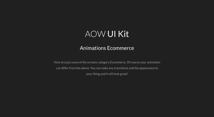 AOW UI Kit. Some animation on Behance