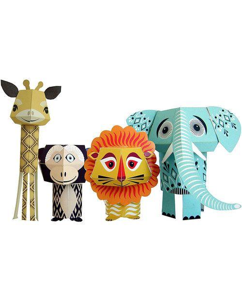 Coq en Pâte Set di 4 Animali di Carta da Costruire - The Wild Bunch -100% Carta Riciclata! Carta e Cartone