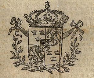 Del av Placat 1687 Sveriges Riksvapen