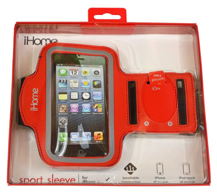 iHome IH-5P140R Sport Armband for iPhone 4/4S/5 and iPod touch 4G/5G, Red. Made with comfortable high quality neoprene. Adjustable velcro fits any arm for maximum comfort. Extra compartment for keys or money. Perfect for any high performace activity. Fits all iPhone and iPod Touch models.