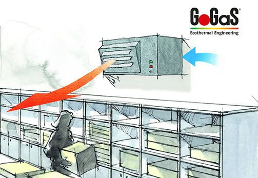 GoGaS Ventilation Technology: The MINIJET convinces with his compact design out of stainless steel and a silent two stage system with 92% efficiency. For further information visit www.gogas.com or www.hallenheizsysteme.de.