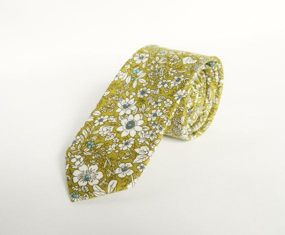 Mens Floral Lime Green tie Cotton Green Floral Prints Wedding