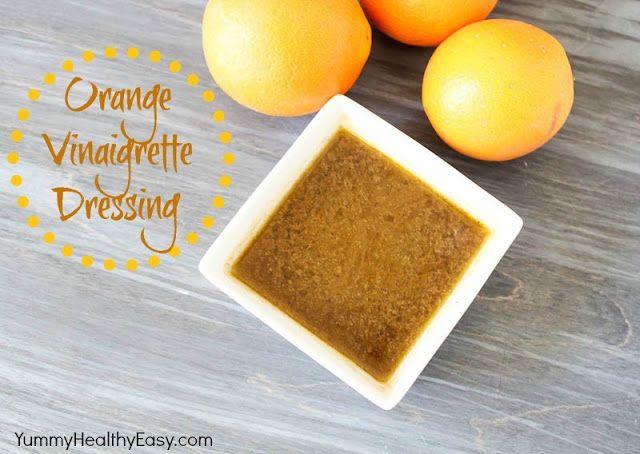 Orange Vinaigrette Dressing  2 oranges, zested and juiced 2 Tbsp. balsamic vinegar 2 Tbsp. honey 1 clove garlic ¾ tsp. salt ½ tsp. pepper ½ c. extra virgin olive oil