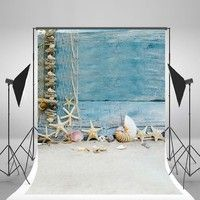 Wish | 5x7ft(150x210cm) Summer Beach Photo Backgrounds Blue Wooden Plywood Shell Backdrops for Children Photography Props