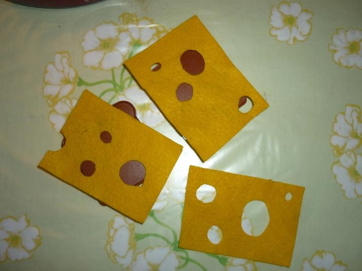 3 Scheiben Käse für Kinderküche, Kaufmannsladen