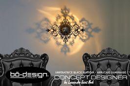 luminaire design concept innovant designer avec ombre portée au mur - modele imperatrice - applique murale baroque concept décoratif