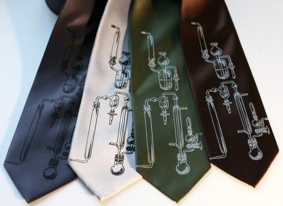 Test tubes silk men's necktie. Experiment - science and chemistry silkscreened tie.