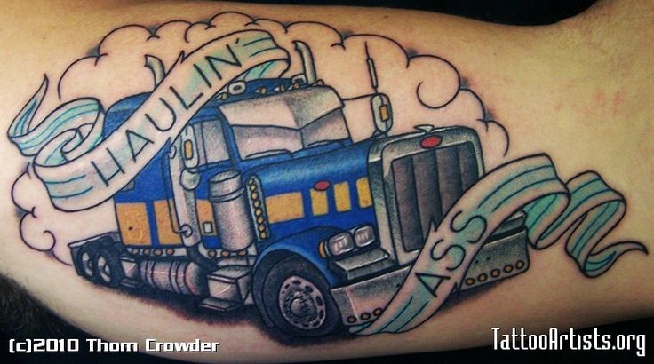 Truck Driver Tattoo Designs | with him on the road, even if they're not there in person.