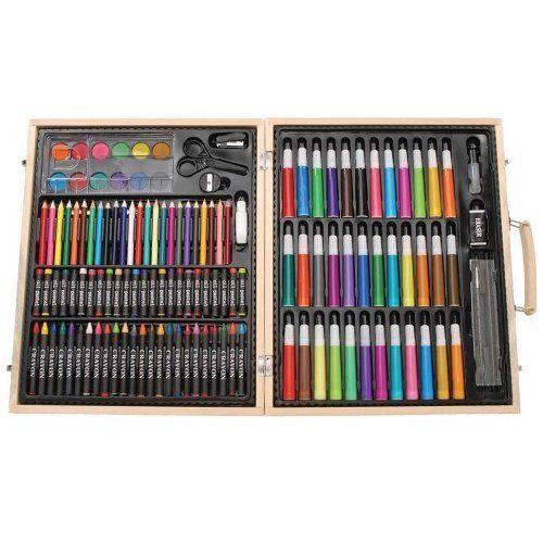 Art Set 130 Pcs Piece Drawing Case Kit Deluxe Wood Artist Painting Supplies NEW #ArtSet
