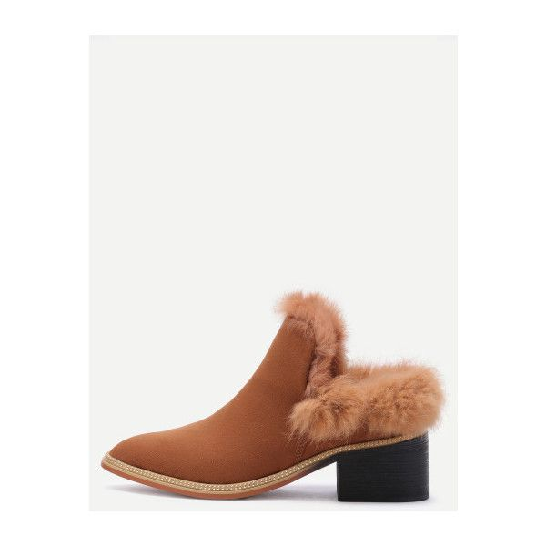 SheIn(sheinside) Brown Faux Fur Lined Suede Mules (£38) ❤ liked on Polyvore featuring shoes, brown, chunky shoes, brown suede shoes, suede mules, wedge mules shoes and mule shoes