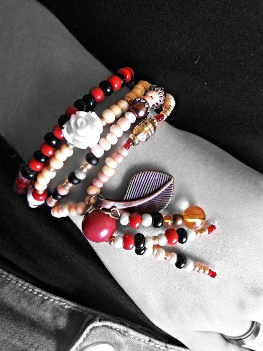Boho wrap bracelet Bohemian bracelet Red black by JewelryFairyGift