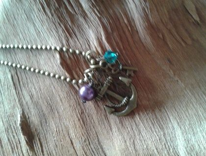 Antique Bronze and Swarovski Crystal Anchor Charm Necklace