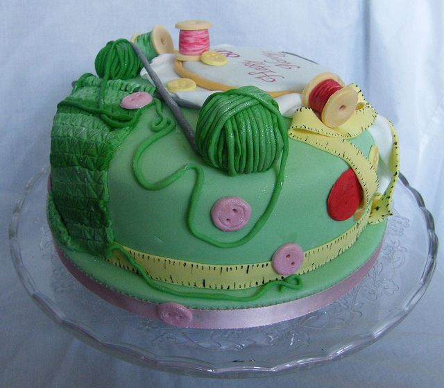 Knitting Cake Ideas : Sewing and knitting cake by curly sue cakes via flickr
