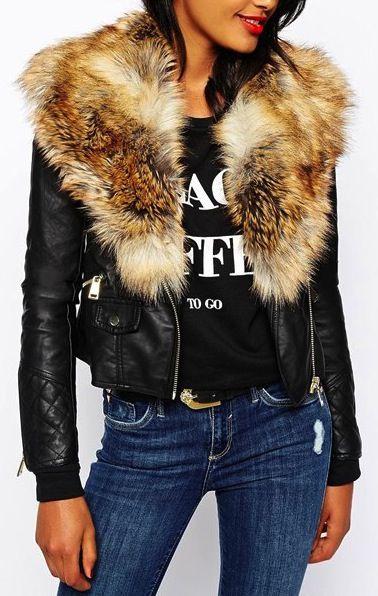 jacket with fake fur collar