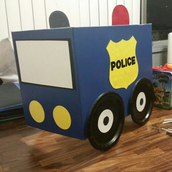 Very easy police car out of a cardboard box.