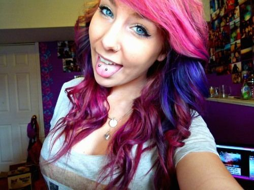 Double tongue piercing & sassy hair color. If I ever pierce my tongue. this is what it will be!!!!!!!!