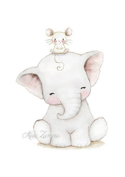"Nursery print ""ELEPHANT and BUBBLES"" Archival Print, Nursery Wall art"