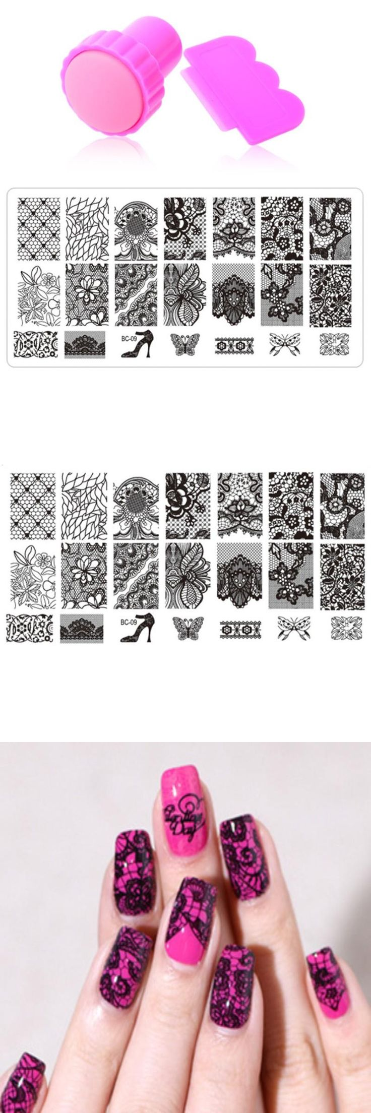 [Visit to Buy] Nail Art Stamping,10Designs 1pcs Stainless Steel Image Plates and Stamper Scraper Set,Konad Nail Stamp Template,Nail Tools #Advertisement