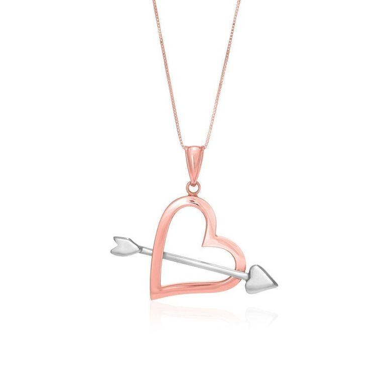 Gold Necklaces | 14K Rose & White Gold Arrow Open Heart Pendant #goldnecklaces