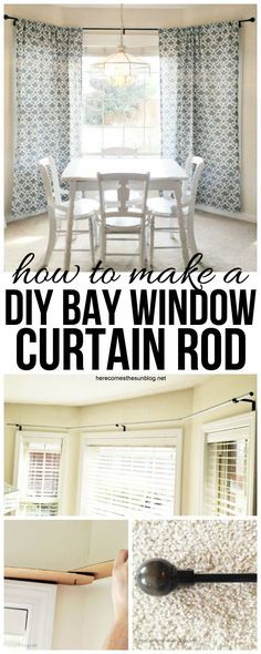 Make your own DIY Bay Window Curtain Rod for $10!  Super easy tutorial at herecomesthesunblog.net