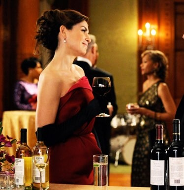 """Alicia's Lanvin Pink and Red Gown With a Ruffled Hip Detail The Good Wife Season 4, Episode 18: """"Death of a Client"""" - Spotted on TV"""