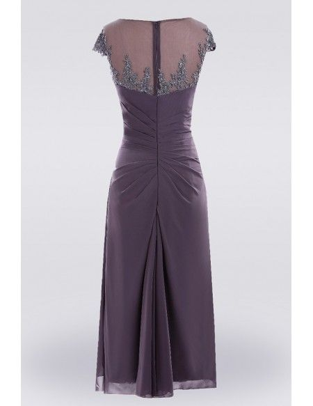 18d1e9157ce Purple Knee Length Lace Mother Of The Bride Dress With Sleeves Custom Size   E7903 - GemGrace.com