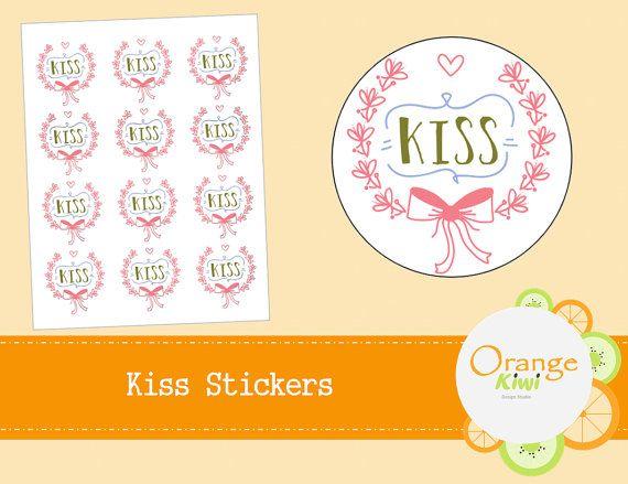 Kiss Stickers  Wedding Stickers  Envelope by OrangeKiwiDesign