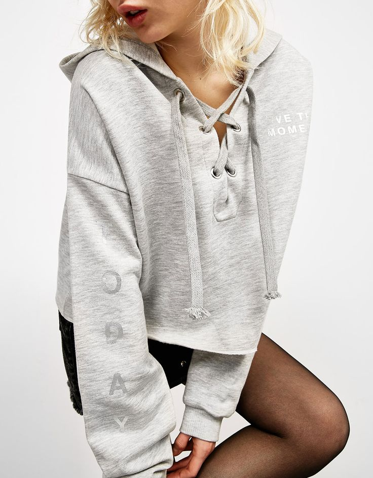 Hooded sweatshirt with crossover neckline - Sweatshirts - Bershka Macedonia