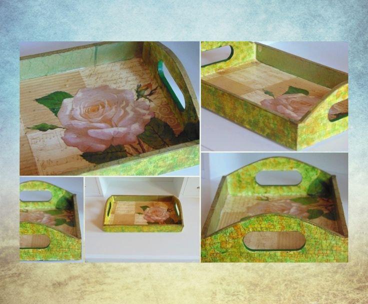 Decoupage tray - rose