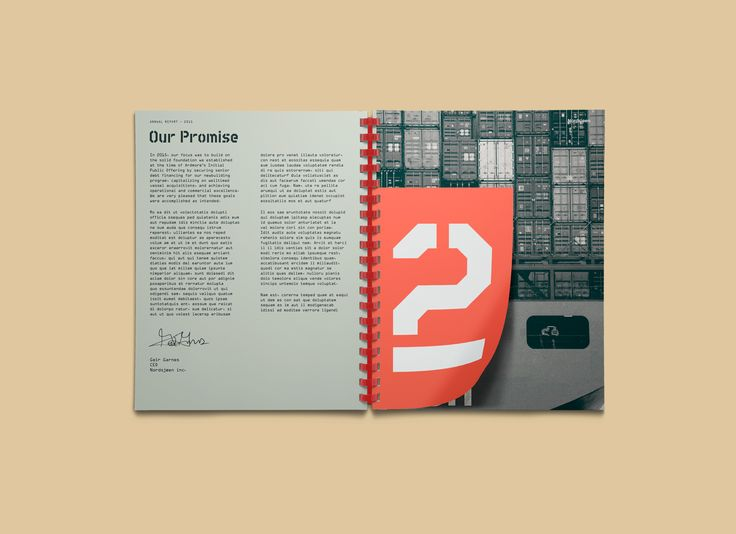 Nordsjøen is a fictional Norwegian shipping company that I created an identity an annual report for.