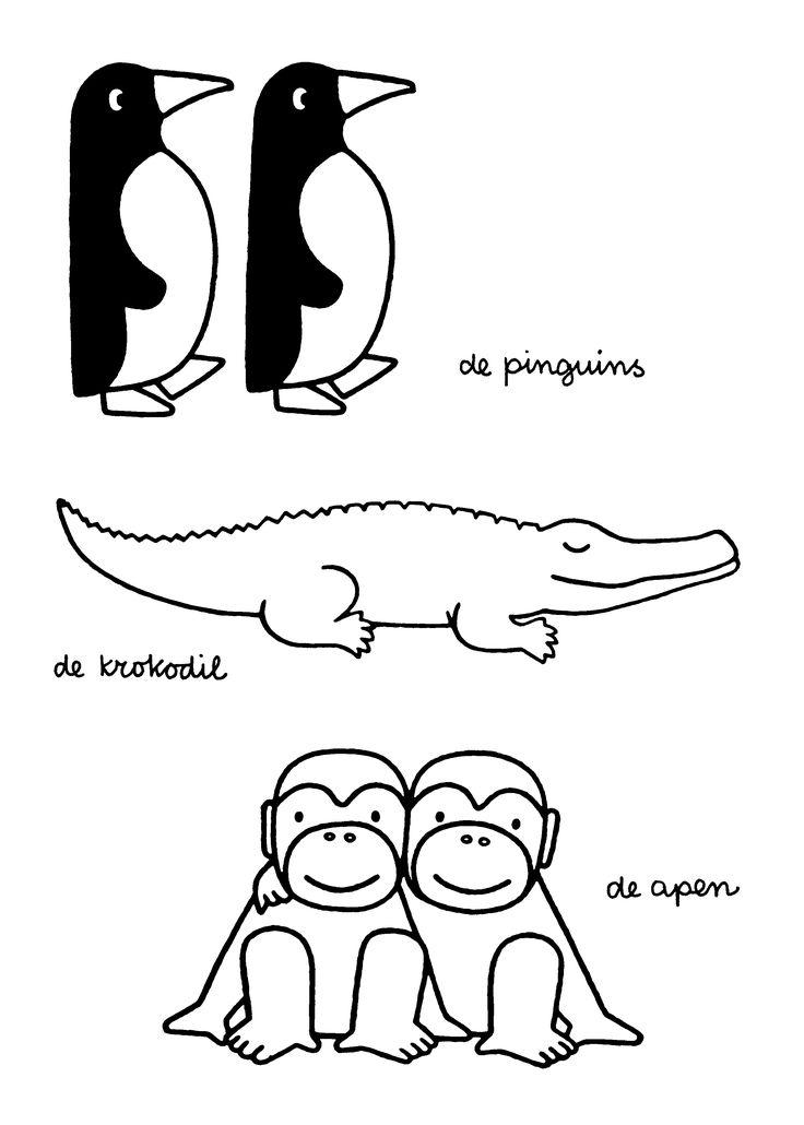 De pinguins. De krokodil. De apen