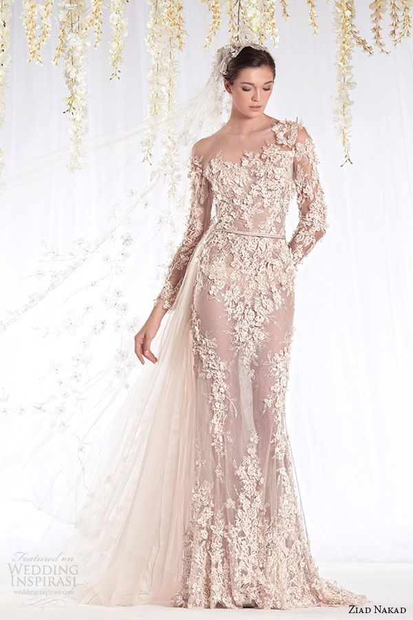 623 best half sheer wedding gowns for the daring bride images on ziad nakad 2015 haute couture bridal wedding dress one shoulder long sleeves sheer sheath gown with leaf flora applique ziad nakad 2015 wedding dresses junglespirit Gallery