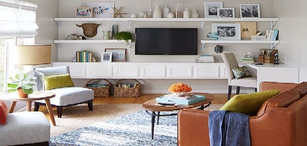 Living Room White Color Combination