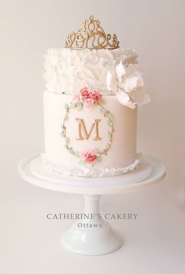 "I love the ""ONE"" in the tiara.  So pretty - by Catherine's Cakery"
