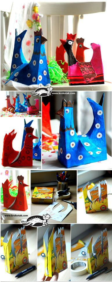 Cardboad Box HENS- I think we can do these as a paper mache project.. Looks fun if we can get enough cereal boxes