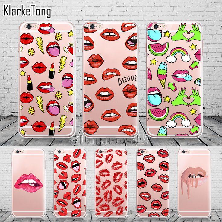 Graffiti Sexy Girl Kylie Bibir Telepon Kasus Untuk iPhone 6 6 S 5 5 s SE 7 7 Ditambah Transparan Silicone Fundas Carcasas Capinha
