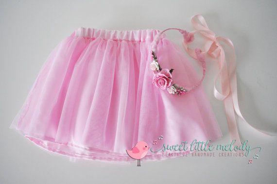 Pink tutu Skirt Flowergirl Tutu Ballerina by SweetLittleMelody