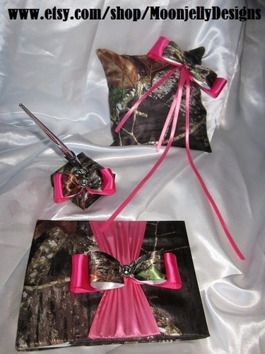Camo Pink Wedding Set Ring Pillow Flower Basket Guest Book Pen.....OMG Great Idea I'm going to make pillows like this anywys