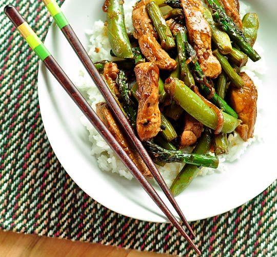 Pork Stir-Fry + Asparagus + Sugar Snap Peas / the kitchn