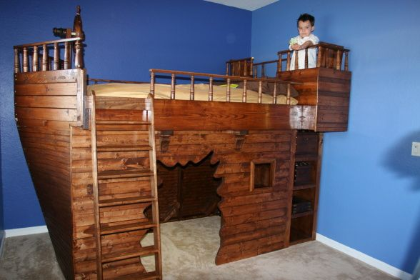 """Incredible!!      *Pirate Ship Bed, This is the pirate ship bed that I;ve just finished for my 5 year old stepson.  There's a """"blast hole"""" entrance for the play area underneath the bed, and a secret passageway under one of the rear storage benches on the top that goes to the play area.  , Boys' Rooms Design"""