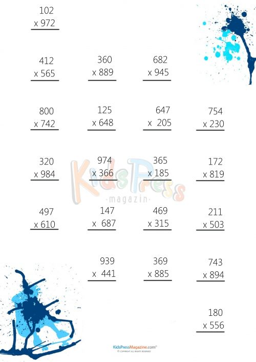 3 Digit by 3 Digit Multiplication Worksheet -#7  #math #multiplication #free #quiz #worksheet