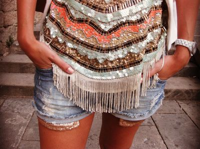 Boho embellishment tank, with fringe!