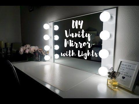 my favorite tutorial so far diy vanity mirror with lights under 100. Black Bedroom Furniture Sets. Home Design Ideas