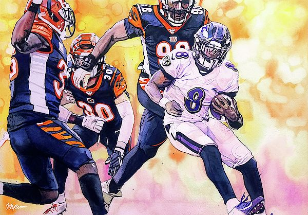 Prints Available Lamar Jackson Spin Move By Michael Pattison Watercolor Lamar Jackson Nfl Football Art Baltimore Ravens Football