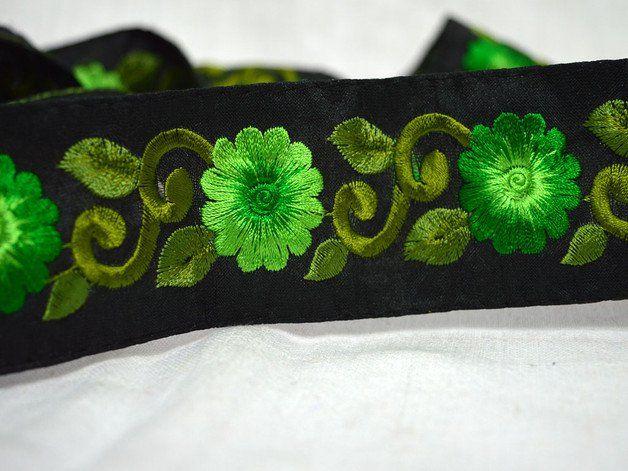 Seda Sari Border, Tela ajuste por el astillero en tonos de verde oscuro, adornos de tela bordada verde primavera y los adornos, ajuste de la decoración, moda Avios, el ajuste del traje.  Las...