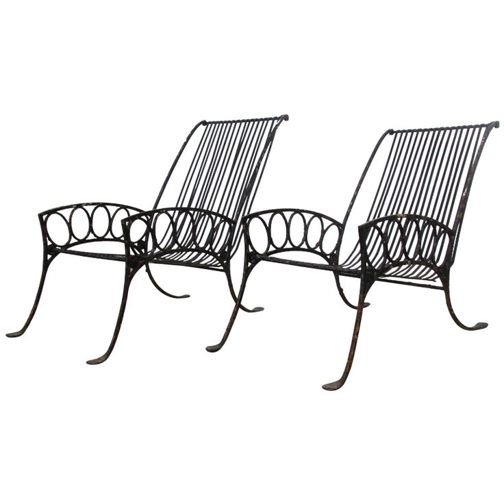 French Art Deco Iron Chairs