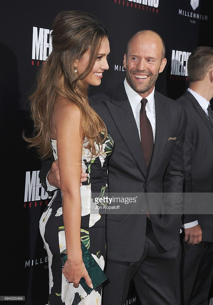 Actress Jessica Alba and actor Jason Statham arrive at the Los Angeles Premiere 'Mechanic: Resurrection' at ArcLight Hollywood on August 22, 2016 in Hollywood, California.