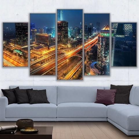 5 Pieces China Beijing Roads Night Time Cities Wall Art